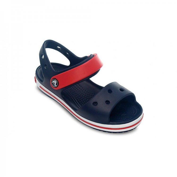 Сандалии Crocs Crocband Sandal Kids (синий с красным)Обувь<br>Материал<br>Croslite (крослайт) - Полимер<br>Описание <br>Внимание! Данная модель маломерит примерно на размер!<br>Яркие детские сандалии из уникального, запатентованного материала Croslite. Материал является бактериостатичным, то есть препятствующим росту и размножению бактерий, вызывающих запах. Преимущества оригинальной обуви Сrocs: очень легкие и мягкие, долговечные, устойчивая нескользящая подошва, великолепное качество, простой уход. <br>Внимание! Данная модель маломерит примерно на размер!<br>Производитель: Crocs (США)<br>Страны производства: Китай, Италия, Вьетнам, США, Словения, Нидерланды<br>Коллекция: Весна/Лето 2015<br>Модель производится в размерах: С4(21), С5(22), С6(23), С7(24), С8(25), С9(26), С10(27), С11 (28), С12 (29-30), С13 (30-31), J1 (32-33), J2 (33-34), J3 (34-35)<br>Уход<br>Сабо Crocs легко моются теплой водой. При необходимости их можно стирать в стиральной машине при температуре 30 градусов<br>; Размеры в наличии: J1, C12, C11, C10, C9, C8, C7, C6, C5, C4, J3, J2, C13.<br>