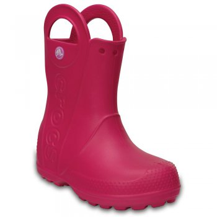 Сапоги Handle It Rain Boot (розовый)Одежда<br>Яркие сапожки от Crocs для мальчиков и девочек. Полностью литая модель выполнена из легкого и прочного материала Croslite. Модель без стельки и без подкладки, рассчитана на теплую дождливую погоду от +10 градусов, имеет круглый мыс, ручки по бокам для удобства надевания и светоотражающий элемент с названием марки.<br><br> Сабо Crocs легко моются теплой водой. При необходимости их можно стирать в стиральной машине при температуре 30 градусов<br><br>   Верх: Croslite (крослайт) - Полимер<br> Производитель: Crocs (США)<br> Страны производства: Китай, Италия, Вьетнам, США, Словения, Нидерланды<br> Коллекция: Весна/Лето 2018<br> Модель производится в размерах: С6(23), С7(24), С8(25), С9(26), С10(27), С11 (28), С12 (29-30), С13 (30-31), J1 (32-33), J2 (33-34), J3 (34-35)<br>; Размеры в наличии: C6, J2, J1, C13, C12, C11, C10, C9, C8, C7, J3.<br>