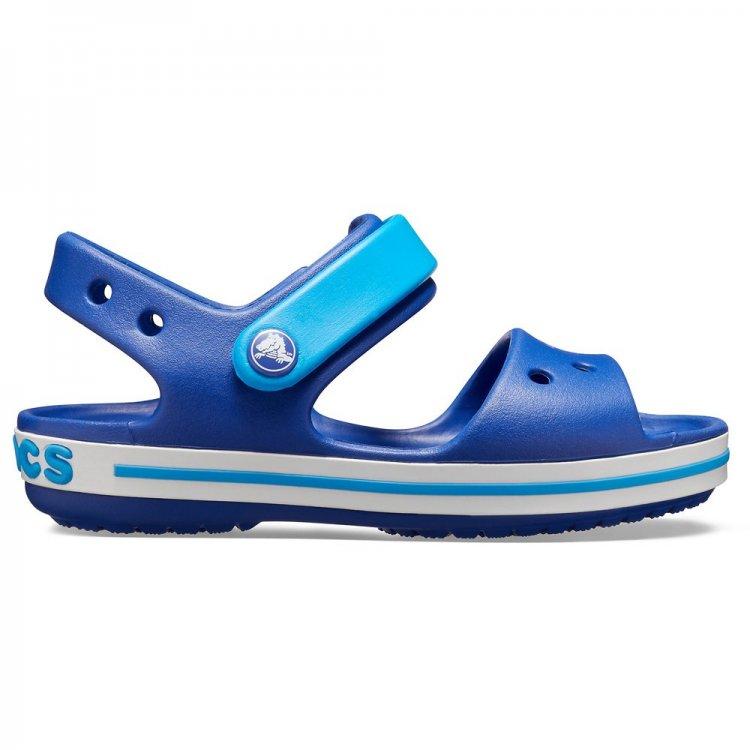 Сандалии Crocband Sandal Kids (синий с голубым)Обувь<br>Яркие сабо из уникального, запатентованного материала Croslite. Материал является бактериостатичным, то есть препятствующим росту и размножению бактерий, вызывающих запах. Преимущества оригинальных сабо Сrocs: очень легкие и мягкие, долговечные, устойчивая нескользящая подошва, великолепное качество, простой уход. <br><br> Сабо Crocs легко моются теплой водой. При необходимости их можно стирать в стиральной машине при температуре 30 градусов<br>   Верх: Croslite (крослайт) - Полимер<br> Производитель: Crocs (США)<br> Страны производства: Китай, Италия, Вьетнам, США, Словения, Нидерланды<br> Модель производится в размерах:<br> Коллекция: Весна/Лето 2018.<br>; Размеры в наличии: C4, J2, J1, C13, C12, C11, C10, C9, C8, C7, C6, C5, J3.<br>