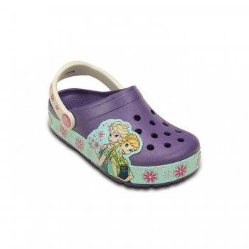 Сабо CrocsLights FrozenFever Clog K (фиолетовый)Обувь<br>Материал<br>Croslite (крослайт) - Полимер<br>Описание <br>Яркие детские сабо из уникального, запатентованного материала Croslite. Материал является бактериостатичным, то есть препятствующим росту и размножению бактерий, вызывающих запах. Преимущества оригинальных сабо Сrocs: очень легкие и мягкие, долговечные, устойчивая нескользящая подошва, великолепное качество, простой уход. <br>Производитель: Crocs (США)<br>Страны производства: Китай, Италия, Вьетнам, США, Словения, Нидерланды<br>Коллекция: Весна/Лето 2016<br>Модель производится в размерах: C6 (23), C7 (24), С8 (25), C9 (26), С10 (27), C11 (28), С12 (29), C13 (30), J1 (32-33), J2 (33-34)<br>Уход<br>Сабо Crocs легко моются теплой водой. При необходимости их можно стирать в стиральной машине при температуре 30 градусов<br>; Размеры в наличии: C6, J1, C13, C12, C11, C10, C9, C8, C7, J2.<br>