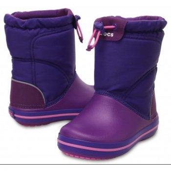 Сапоги Crocband LodgePoint Boot K (фиолетовый)Обувь<br>Описание<br>Отличные утепленные сапожки для межсезонной слякоти.  Мягкая и приятная подкладка. Подошва и носок выполнены из запатентованного материала Croslite, очень легкого и непропускающего влагу. Устойчивая, нескользящая подошва. <br>Характеристики<br>Верх: Нейлон/Croslite (крослайт) - Полимер <br>Внутренняя отделка: Трикотаж<br>Подошва: Croslite (крослайт) - Полимер <br>Производитель: Crocs (США) <br>Страна производства: КНР<br>Обувь Crocs можно стирать в стиральной машине при температуре 30 градусов<br>Температурный режим<br>От +10 до -5 градусов ; Размеры в наличии: C8, C7, C9, C10, C11, C12, C13, J1, J2, J3, C6.<br>