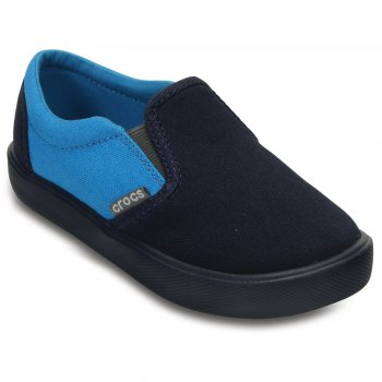 Слипоны CitiLane Sneaker (темно-синий с голубым)Обувь<br>Материал<br>Croslite (крослайт) - Полимер, верх - хлопок<br>Описание <br>Яркие слипоны с подошвой из уникального, запатентованного материала Croslite. Материал является бактериостатичным, то есть препятствующим росту и размножению бактерий, вызывающих запах. Преимущества оригинальных слипонов Сrocs: очень легкие и мягкие, долговечные, устойчивая нескользящая подошва, великолепное качество, простой уход. <br>Производитель: Crocs (США)<br>Страны производства: Китай, Италия, Вьетнам, США, Словения, Нидерланды<br>Коллекция: Весна/Лето 2016<br>Модель производится в размерах: С6(23), С7(24), С8(25), С9(26), С10(27), С11 (28), С12 (29-30), С13 (30-31), J1 (32-33), J2 (33-34), J3 (34-35)<br>Уход<br>Слипоны Crocs легко моются теплой водой.<br>; Размеры в наличии: C6, J2, J1, C13, C12, C11, C10, C9, C8, C7, J3.<br>