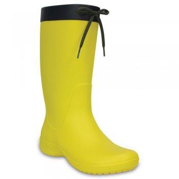 Сапоги Crocs Freesail Rain Boot (желтый)Одежда<br>Яркие сапоги из уникального, запатентованного материала Croslite. Материал является бактериостатичным, то есть препятствующим росту и размножению бактерий, вызывающих запах. Преимущества оригинальных сапог Сrocs: очень легкие и мягкие, долговечные, устойчивая нескользящая подошва, великолепное качество, простой уход. <br> Производитель: Crocs (США)<br> Страны производства: Китай, Италия, Вьетнам, США, Словения, Нидерланды<br> Коллекция: Весна/Лето 2017<br> Модель производится в размерах: W6 (36-37), W7 (37-38), W8 (38-39), W9 (39-40), W10 (40-41), W11 (41-42)<br><br> Сабо Crocs легко моются теплой водой. При необходимости их можно стирать в стиральной машине при температуре 30 градусов  <br> Croslite (крослайт) - Полимер<br>; Размеры в наличии: W6, W7, W8, W9, W10, W11.<br>