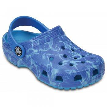 Сабо Classic Graphic Clog (синий с разводами)Обувь<br>Яркие сабо из уникального, запатентованного материала Croslite. Материал является бактериостатичным, то есть препятствующим росту и размножению бактерий, вызывающих запах. Преимущества оригинальных сабо Сrocs: очень легкие и мягкие, долговечные, устойчивая нескользящая подошва, великолепное качество, простой уход. <br> Производитель: Crocs (США)<br> Страны производства: Китай, Италия, Вьетнам, США, Словения, Нидерланды<br> Коллекция: Весна/Лето 2017<br> Модель производится в размерах: С4(21), С5(22), С6(23), С7(24), С8(25), С9(26), С10(27), С11 (28), С12 (29-30), С13 (30-31), J1 (32-33), J2 (33-34), J3 (34-35)<br><br> Сабо Crocs легко моются теплой водой. При необходимости их можно стирать в стиральной машине при температуре 30 градусов<br>  <br> Croslite (крослайт) - Полимер<br>; Размеры в наличии: C4, M1/W3, M2/W4, J3, J2, J1, C13, C12, C11, C10, C9, C8, C7, C6, C5, M3/W5.<br>