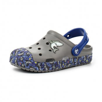 Crocs, Сабо Crocs Bump It Graphic Clog (серый с акулой)