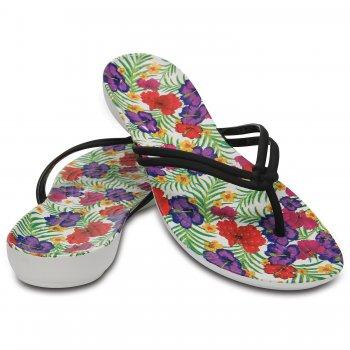 Crocs Шлепанцы Crocs Isabella Graphic Flip (белый с цветами)