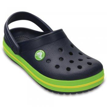 Сабо Crocband Clog (синий с зеленой полосой)Обувь<br>; Размеры в наличии: C4, J2, J1, C13, C12, C11, C10, C9, C8, C7, C6, C5, J3.<br>