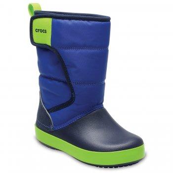 Сапоги с липучкой LodgePoint Snow Boot K (синий с зеленым)Обувь<br>Описание<br>Отличные утепленные сапожки для межсезонной слякоти.  Мягкая и приятная подкладка. Подошва и носок выполнены из запатентованного материала Croslite, очень легкого и непропускающего влагу. Устойчивая, нескользящая подошва. <br>Характеристики<br>Верх: Нейлон/Croslite (крослайт) - Полимер <br>Внутренняя отделка: Трикотаж<br>Подошва: Croslite (крослайт) - Полимер <br>Производитель: Crocs (США) <br>Страна производства: КНР<br>Обувь Crocs можно стирать в стиральной машине при температуре 30 градусов<br>Температурный режим<br>От +10 до -5 градусов ; Размеры в наличии: J3, C7, C8, C9, C10, C11, C12, C13, J1, J2, C6.<br>
