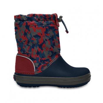 Сапоги Crocband LodgePoint Graphic K (разноцветный)Обувь<br>Описание<br>Отличные утепленные сапожки для межсезонной слякоти.  Мягкая и приятная подкладка. Подошва и носок выполнены из запатентованного материала Croslite, очень легкого и непропускающего влагу. Устойчивая, нескользящая подошва. <br>Характеристики<br>Верх: Нейлон/Croslite (крослайт) - Полимер <br>Внутренняя отделка: Трикотаж<br>Подошва: Croslite (крослайт) - Полимер <br>Производитель: Crocs (США) <br>Страна производства: КНР<br>Обувь Crocs можно стирать в стиральной машине при температуре 30 градусов<br>Температурный режим<br>От +10 до -5 градусов ; Размеры в наличии: J3, C7, C8, C9, C10, C11, C12, C13, J1, J2, C6.<br>