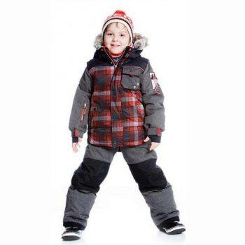 Комплект (красная клетка)Комбинезоны<br>Описание<br>Стильный зимний комплект для мальчиков. Куртка с модной имитацией жилетки и брюки-полукомбинезон. Комплект отлично подходит для прогулок в морозную погоду и для занятиями зимними видами спорта. Удобный капюшон легко отстегивается для обеспечения безопасности во время игр. Опушка из искусственного меха защищает лицо от мороза и при необходимости снимается. Внутренняя поверхность капюшона и подкладка сделаны из мягкого флиса. Внутренняя снежная юбка исключают продувание, защитная планка молнии с защитой подбородка от защемления. Манжеты рукавов на резинке и дополнительно регулируются с помощью липучек. Внутренние эластичные манжеты с отверстием под большой палец закрывают ладони и запястья и не дают рукавам задираться во время двигательной активности. Боковые карманы на молнии и кармашек на груди на кнопках позволяют взять на прогулку все необходимое. На одном из рукавов также есть кармашек для ски-пасса, что, безусловно, оценят любители зимних видов спорта. Брюки с высокой спинкой и лямками, которые можно отстегнуть. Талия регулируется с помощью утяжки. Кармашки застегиваются на молнию.  Низ штанин можно отвернуть, зафиксировав на кнопках, таким образом, костюм растет вместе с ребенком и будет всегда сидеть по фигуре. И конечно, это позволяет носить его гораздо дольше обычного. Колени и область попы усилены особо прочной тканью Cordura® для максимальной износостойкости. В задней части брюк также добавлен слой утеплителя, что особенно важно для маленьких детей, которые много сидят в снегу. Внутренние гетры защищают обувь и ноги от попадания снега и влаги. Светоотражающие элементы делают нахождение вашего ребенка на улице более безопасным. В комплект входят подходящие по цвету аксессуары – шарф и манишка (шарф-труба).<br>Функциональные элементы: Куртка: капюшон отстегивается с помощью молнии, мех отстегивается, защитная планка молнии на кнопках и на липучке, защита подбородка от защемления, карманы на молнии, манжеты 