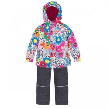 Комплект утепленный (белый с цветами)Комбинезоны<br>Яркий, поднимающий натсроение весенний комплект для девочек. Представлен в 4 очень красивых расцветках.С учетом температурного режима комплекта (от 0 градусов) в куртке предусмотрено разное количество утеплителя, в области тела 120 г, а в капюшоне, воротнике и рукавах - 60 г. Подкладка куртки сделана полностью из флиса, внутри есть удобный карман. В брюках 60 г утеплителя, подкладка с добавлением хлопка.  Лямки и пояс регулируются, что позволяет сделать брюки комфортными, если они приобретены для ребенка с запасом.Этот комплект точно оценит каждая девочка.<br><br>   Куртка: капюшон не отстегивается, защитная планка молнии на липучке, защита подбородка от защемления, карманы на молнии, внутренний карман на подкладке, манжеты на липучке, светоотражающие элементы. Брюки: регулируемые лямки, отстегивающиеся лямки, пояс на резинке регулируется липучками, передние карманы без застежки, задний карман на липучке.   Верх: Куртка: 100% полиэстер. Брюки: 100% полиэстер.<br> Утеплитель: Куртка: наполнитель PolyFill, тело – 120 гр., капюшон, воротник и рукава – 60 гр. Брюки: наполнитель PolyFill  - 60 гр.<br> Подкладка: Куртка: 100 % микрофлис (плотность 200 гр). Брюки: 65% полиэстер, 35% хлопок.<br> Водонепроницаемость:3000 мм<br> Производитель: Deux par Deux (Канада)<br> Страна производства: Китай<br> Модель производится в размерах: 6-24 месяца и 2, 3, 4, 5, 6, 7, 8, 10,12. Размер означает возраст ребенка.<br> Коллекция: Весна/Лето 2018<br><br> Температурный режим <br> От 0 градусов и выше<br><br>; Размеры в наличии: 2, 3, 4, 5, 6, 7, 8, 10, 12, 18M, 24M.<br>