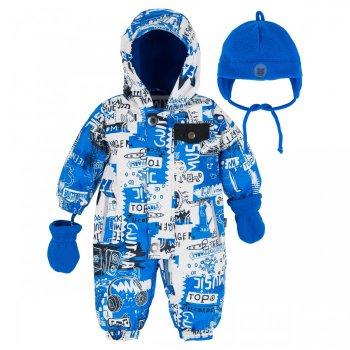 Комбинезон утепленный (голубой с орнаментом)Комбинезоны<br>Описание: <br>Стильный и качественный комбинезон на весну для малышей. В области тела и ножек 120г утеплителя, в капюшоне и рукавах поменьше (60г). Прочный материал, удобный крой, красивые расцветки. Манжеты и подол штанин на резинке защитят от холода и ветра, а удлиненная молния позволит легко одеть и раздеть малыша.<br>Отличный вариант на весну! В комплекте с комбинезоном идет флисовая шапка с завязками и флисовые варежки.<br>Функциональные элементы:апюшон не отстегивается, защитная планка молнии на липучке, защита подбородка от защемления, карманы без застежек, на груди карман с клапаном на кнопке, манжеты на резинке, подол штанин на резинке, светоотражающие элементы, удлиненная молния.<br>Комплект: Флисовая шапка с завязками и флисовые варежки.<br>Характеристики: <br>Верх: 100% полиэстер.<br>Утеплитель: Наполнитель: PolyFill, тело – 120гр., капюшон и рукава – 60гр.<br>Подкладка: микрофлис ( плотность 200 гр).<br>Водонепроницаемость: 3000 мм.<br>Производитель: Deux par Deux (Канада)<br>Страна производства: Китай <br>Модель производится в размерах  12М-24М<br>Коллекция: Весна/Лето 2018.<br>Температурный режим: <br>От 0 градусов и выше.<br>; Размеры в наличии: 12M, 18M, 24M.<br>