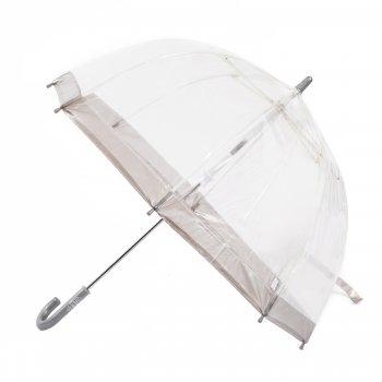 Зонт детский (серебряный)Одежда<br>Стильный и качественный зонт для детей. Его прозрачный купол не закрывает обзор, что в данном случае важно вдвойне: ребенку под таким зонтом не только светло и радостно находиться, но и безопасно. Зонтик ветроустойчивый, имеет надежный и безопасный для ребенка механизм открывания-закрывания.   Механизм зонта: механика.<br> Тип зонта: трость.<br> Количество спиц: 8<br> Длина в сложенном виде (см): 68<br> Диаметр купола (см): 65<br> Материал купола: ПВХ.<br> Материал ручки: пластик.<br> Материал стержня: сталь.<br> Вес (гр): 303<br> Производитель: Fulton (Великобритания).<br> Страна производства: Великобритания.<br><br><br> ; Размеры в наличии: б/р.<br>