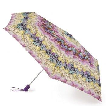 Зонт женский автомат (бабочки)Одежда<br>Очень красивый и стильный зонт. Цвет рукояти идеально подходит к куполу зонта. Кнопка автоматического механизма – аккуратная, небольшая, исключающая случайное нажатие. Чехол на впитывающей подкладке позволяет временно, до окончательной просушки, убирать мокрый зонт в сумку без опасения намочить ее.   Механизм зонта: автомат.<br> Тип зонта: складной.<br> Количество сложений: 3<br> Количество спиц: 6<br> Длина в сложенном виде (см): 25<br> Диаметр купола (см): 93<br> Материал купола: полиэстер.<br> Материал ручки: софт тач.<br> Материал стержня: сталь.<br> Вес (гр): 222<br> Производитель: Fulton (Великобритания).<br> Страна производства: Великобритания. ; Размеры в наличии: б/р.<br>
