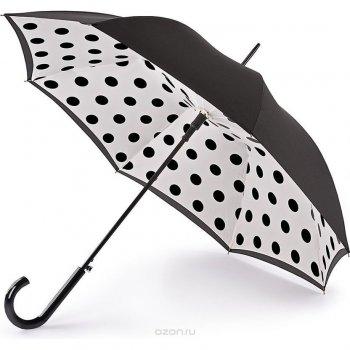 Зонт женский трость автомат (горошек)Одежда<br>Женский зонт-трость в винтажном стиле. Силуэт зонта в раскрытом виде, черный цвет с внешней стороны и кнопка автоматического механизма это доказывают. Внутри невероятно красивый цветочный купол. Конструкция каркаса ветроустойчивая.  Механизм зонта: автомат.<br> Тип зонта: трость.<br> Количество спиц: 8<br> Длина в сложенном виде (см): 92<br> Диаметр купола (см): 92<br> Материал купола: полиэстер.<br> Материал ручки: софт тач.<br> Материал стержня: сталь.<br> Вес (гр): 483<br> Производитель: Fulton (Великобритания).<br> Страна производства: Великобритания. ; Размеры в наличии: б/р.<br>