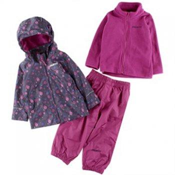Комплект 3 в 1 Gusti Boutique (серый с цветами)Комбинезоны<br>Материал<br>Верх: 100% полиэстер<br>Подкладка: куртка - 100% полиэстер (гладкая подкладка), брюки - 100% хлопок<br>Подстежка (отстегивается): 100% полиэстер (флис)<br>Утеплитель: нет<br>Водонепроницаемость: 5000 мм<br>Паропроводимость: 5000 г/м2/24ч <br>Описание<br>Весенне-осенний комплект 3 в 1 для девочек (куртка, брюки, флисовая кофта) Канадского бренда Gusti. Производится в размерах от 2 до 12 лет. Серия Boutique отличается высоким показателем влагонепроницаемости и паропроводимости. Флисовая кофта выворачивается наизнанку и пристегивается к куртке с помощью молний и кнопок на рукавах и воротнике. Это позволяет регулировать теплоту изделия без нагромождения слоев одежды. <br>Производитель: Gusti (Канада)<br>Страна производства: Китай<br>Коллекция: Весна/Лето 2017<br>Температурный режим<br>От +7 градусов и выше<br>; Размеры в наличии: 2, 3, 3X, 4, 5, 6X, 6, 7, 8, 10, 12.<br>