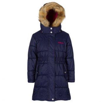Пальто (синий)Куртки<br>Описание<br>Стильное зимнее пальто для девочек. Отличный вариант для города и школы. Верхняя «дышащая» мембранная ткань не пропускает снег и дождь, а специальная обработка делает ее устойчивой к загрязнениям. Современный очень теплый наполнитель сохраняет комфортную температуру тела даже в сильные морозы. Подкладка на груди и спинке и внутренняя поверхность капюшона сделаны из мягкого флиса цвета фуксии, для дополнительного тепла и комфорта. Капюшон со светоотражающими элементами крепится на молнии и спереди застегивается на кнопки. Пушистая опушка из искусственного меха отлично защищает лицо от ветра и мороза, при желании ее можно снять. Молния закрыта ветрозащитной планкой, внутренние трикотажные манжеты хорошо облегают запястья и служат для дополнительного утепления рук. Нижний край пальто украшен нарядной однотонной вышивкой.<br>Функциональные элементы: капюшон отстегивается с помощью молнии, мех отстегивается, защитная планка молнии на липучке, защита подбородка от защемления, карманы на липучке, трикотажные манжеты, светоотражающие элементы. <br>Характеристики<br>Верх: 100% полиэстер<br>Утеплитель:  куртка - 283 грамма, капюшон - 113 грамм<br>Подкладка: polar флис (100% полиэстер)<br>Водонепроницаемость: 5000 мм<br>Паропроводимость: 5000 г/м2/24 часа<br>Износостойкость: нет данных<br>Производитель: Gusti (Канада)<br>Страна производства: Китай <br>Модель производится в размерах 6-12 Размер обозначает возраст ребенка.<br>Коллекция: Осень/Зима 2017<br>Температурный режим<br>От 0 до -30 градусов; Размеры в наличии: 6, 6х, 7, 8, 10, 12.<br>
