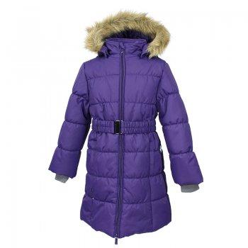 Пальто YACARANDA (фиолетовый)Куртки<br>Описание: <br>Теплое зимнее пальто для девочек. Это универсальная недорогая модель подойдет как для школы, так и для долгих зимних прогулок. Современный утеплитель HuppaTherm отлично греет даже при очень низких температурах а высококачественная мембрана не пропускает влагу, ветер и снег.  Приталенный силуэт подчеркнут поясом на застежке. На рукавах есть внутренние манжеты из трикотажа, которые плотно облегают запястья для дополнительного тепла и защиты от продувания. Капюшон на кнопках дополнен опушкой из искусственного меха. <br>Функциональные элементы: капюшон отстегивается с помощью кнопок, мех не отстегивается, защита подбородка от защемления, карманы без застежек, трикотажные манжеты, светоотражающие элементы.<br>Характеристики: <br>Верх: 100% полиэстер.<br>Утеплитель: 300 грамм (100% полиэстер).<br>Подкладка: 100% полиэстер<br>Водонепроницаемость: 10000 мм.<br>Паропроводимость: 10000 г/м2/24ч.<br>Износостойкость: нет данных.<br>Производитель: HUPPA (Эстония).<br>Страна производства: Эстония.<br>Коллекция: Осень-Зима 2017.<br>Температурный режим: <br>от -5  до -30 градусов.<br>; Размеры в наличии: 110, 116, 122, 128, 134, 140, 146, 152, 158, 164, 170.<br>