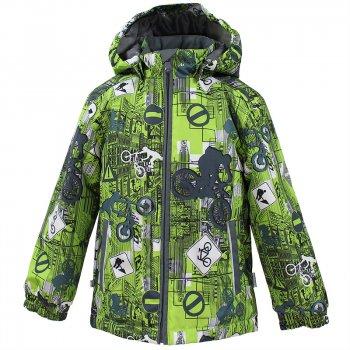 Куртка JODY (салатовый с серым)Куртки<br>Материал<br>Верх: 100% полиэстер<br>Утеплитель: 100 грамм (100% полиэстер)<br>Подкладка: 100% полиэстер<br>Водонепроницаемость: 10000 мм.<br>Паропроводимость: 10000 г/м2/24ч.<br>Износостойкость: нет данных<br>Описание<br>Куртка  для детей от 1 года эстонской фирмы Huppa на межсезонье (  0 и выше). В моделе 100 грамм утеплителя. При выборе размера обратите внимание, что одежда Huppa шьется с запасом на вырост 5 см. Мембранная ткань с показателем 10 000 мм надежно защитит от влаги, а регулировка по подолу куртки - от ветра. Куртка отлично подойдет как для активных прогулок, так и для школы. <br>Функциональные элементы: капюшон отстегивается с помощью кнопок, защита подбородка от защемления, манжеты на резинке, утяжка по подолу, светоотражающие элементы. <br>Производитель: Huppa(Эстония)<br>Страна производства: Эстония<br>Коллекция: Весна/Осень 2017<br>Модель производится в размерах: 80-152<br>Температурный режим<br>от 0 до +10 градусов; Размеры в наличии: 92, 98, 104, 110, 116, 122, 128, 134, 140, 146, 152.<br>