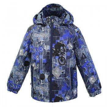 Куртка JODY (серый с синим принтом)Куртки<br>; Размеры в наличии: 92, 98, 104, 110, 116, 122, 128, 134, 140, 146, 152.<br>
