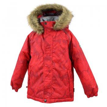 Куртка MARINEL (красный с принтом)Куртки<br>Описание: <br>Теплая зимняя куртка для мальчиков до 10 лет. Модель из комплекта WINTER, арт. 41480030. Высококачественная мембрана не пропускает снег и влагу и отлично «дышит», что особенно важно, когда ребенок активно двигается. А современный синтетический утеплитель греет даже на сильном морозе и при этом не теряет своих свойств после многочисленных стирок. Удлиненный крой спинки, утяжка по низу куртки и планка на молнии для лучшей защиты от холода, ветра и снега. Теплый капюшон с опушкой из искусственного меха легко отстегивается. Светоотражающие элементы делают вашего ребенка заметным в темное время суток и в любую погоду.<br>Функциональные элементы: капюшон отстегивается с помощью кнопок, мех не отстегивается, защитная планка молнии на липучке, защита подбородка от защемления, карманы без застежек, манжеты на резинке, утяжка по подолу, светоотражающие элементы. <br>Характеристики: <br>Верх: 100% полиэстер.<br>Утеплитель: 300 грамм (100% полиэстер).<br>Подкладка: 100% полиэстер<br>Водонепроницаемость: 10000 мм.<br>Паропроводимость: 10000 г/м2/24ч.<br>Износостойкость: нет данных.<br>Производитель: HUPPA (Эстония).<br>Страна производства: Эстония.<br>Коллекция: Осень-Зима 2017.<br>Температурный режим: <br>от -5  до -30 градусов.<br>; Размеры в наличии: 98, 104, 110, 116, 122, 128, 134, 140.<br>