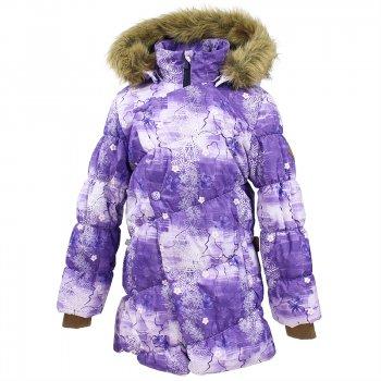 Куртка ROSA (сиреневый с принтом)Куртки<br>Описание: <br>Зимняя куртка для девочек из коллекции Huppa Fashion. Модель с ярким необычным дизайном обладает всеми преимуществами зимней одежды Huppa. Верхняя мембранная ткань защищает от снега и ветра, а современный синтетический утеплитель согревает даже в сильный мороз. Для дополнительного тепла и комфорта подкладка по спинке куртки и в капюшоне выполнена из мягкого, приятного на ощупь искусственного меха. Капюшон дополнен опушкой, которую при желании можно снять, сам капюшон также отстегивается. Планка на молнии скроена по косой линии, и является не только дополнительной защитой от холода и ветра, но и оригинальным элементом дизайна. Удлиненные трикотажные манжеты сохраняют запястья и кисти рук в тепле. <br>Функциональные элементы: капюшон отстегивается, искусственный мех на капюшоне отстегивается, трикотажные манжеты, 2 врезных кармана на молнии, светоотражатели.<br>Характеристики: <br>Верх: 100% полиэстер.<br>Утеплитель: 300 грамм (100% полиэстер).<br>Подкладка: 100% полиэстер<br>Водонепроницаемость: 5000 мм.<br>Паропроводимость: 5000 г/м2/24ч.<br>Износостойкость: нет данных.<br>Производитель: HUPPA (Эстония).<br>Страна производства: Эстония.<br>Коллекция: Осень-Зима 2017.<br>Температурный режим: <br>от -5  до -30 градусов.<br>; Размеры в наличии: 128, 134, 140, 146, 152, 158.<br>