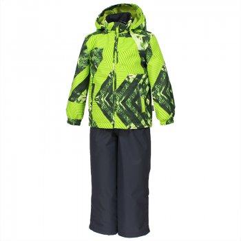 Комплект YOKO (салатовый с принтом)Комбинезоны<br>С этим демисезонным комплектом можно не переживать за ребенка во время прогулок. Он утеплен (100 г утеплителя в куртке и 40 г в брюках) и имеет высокий показатель водонепроницаемости. Это означает, что можно гулять при температуре от 0 градусов и не бояться ни ветра, ни дождя и тающего снега. <br>В куртке предусмотрен безопасный капюшон на кнопках, а также резинки на манжетах и утяжка по подолу. <br>На полукомбинезоне имеются регулируемые лямки и молния для удобства одевания.<br>Комплект представлен во множестве ярких расцветок, осталось только выбрать!<br><br>   Куртка: капюшон отстегивается с помощью кнопок, защита подбородка от защемления, карманы без застежек, манжеты на резинке, утяжка по подолу, светоотражающие элементы. Брюки: регулируемые лямки, пояс на резинке, подол штанин с утяжкой с фиксатором, светоотражающие элементы. <br> Верх: 100% полиэстер<br> Утеплитель: куртка - 100 грамм (100% полиэстер), полукомбинезон-40 грамм (100% полиэстер)<br> Подкладка: 100% полиэстер<br> Водонепроницаемость: 10000 мм<br> Паропроводимость: 10000 г/м2/24ч<br> Износостойкость: нет данных<br> Производитель: Huppa (Эстония)<br> Страна производства: Эстония<br> Модель производится в размерах 80-122<br> Коллекция: Весна/Лето 2018.<br><br> Температурный режим <br> от 0 до +10 градусов<br>; Размеры в наличии: 80, 86, 92, 98, 104, 110, 116, 122.<br>
