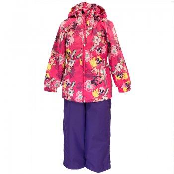 Комплект YONNE  (розовый с цветами)Комбинезоны<br>Комплект разработан специально для девочек от 1 до 6 лет: яркие принты, приталенная, чуть удлиненная куртка и высокий однотонный полукомбинезон. Благодаря большому выбору расцветок каждый найдет что-то для себя: потемнее, поярче, посветлее. У комплекта минимальный набор функциональных элементов, зато высокие показатели водонепроницаемости (10 000 мм) и приятная цена. <br>В отличии от большинства производителей, которые выпускают одинаковые комплекты, отличающиеся только расцветкой, для мальчиков и девочек, Huppa предлагает отдельные модели, что позволяет сделать комплекты для девочек не только функциональными, но и нарядными.<br><br>  Куртка: капюшон отстегивается с помощью кнопок, защита подбородка от защемления, карманы без застежек, манжеты на резинке, светоотражающие элементы. Брюки: регулируемые лямки, пояс на резинке, подол штанин с утяжкой с фиксатором.  <br> Верх: 100% полиэстер<br> Утеплитель: куртка - 100 грамм (100% полиэстер), полукомбинезон - 40 грамм (100% полиэстер)<br> Подкладка: 100% полиэстер<br> Водонепроницаемость: 10000мм<br> Паропроводимость: 10000г/м2/24ч<br> Износостойкость: нет данных.<br> Производитель: Huppa (Эстония)<br> Страна производства:  Эстония<br> Модель производится в размерах 80-122<br> Коллекция: Весна/Лето 2018.<br><br> Температурный режим <br>  от 0 до +10 градусов; Размеры в наличии: 80, 86, 92, 98, 104, 110, 116, 122.<br>