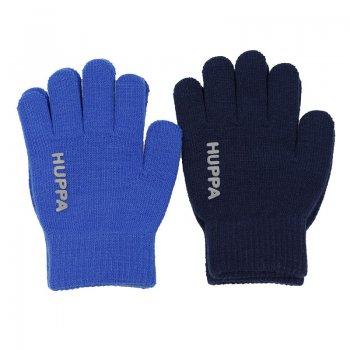 Huppa Вязаные перчатки LEVI 2 пары (голубой с темно-синим) бэби бум комплект сова голубой с темно синим