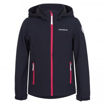 Куртка softshell TRUDY JR (темно-синий)Куртки<br>Материал<br>Верх:100% полиэстер<br>Утеплитель: нет<br>Подкладка:100% полиэстер (флис)<br>Водонепроницаемость: 3000 мм.<br>Паропроводимость: 3000 г/м2/24ч<br>Износостойкость: нет данных<br>Описание<br>Куртка из материала Softshell - мягкого и приятного на ощупь: снаружи эластичный, ветро и влагозащитный слой, внутри флис. Softshell взял самое лучшее от куртки и от кофты - мягкость, тепло, защиту от воды и ветра. Одежда софтшелл всесезонна - весной и осенью ее можно носить как самостоятельную вещь при температуре от +5 до + 15 градусов. А зимой софтшелл можно использовать в качестве поддевы или для занятий спортом на открытом воздухе.<br>Функциональные элементы: капюшон отстегивается с помощью кнопок, защита подбородка от защемления, регулируется по объему, карманы на молнии, манжеты на липучке, светоотражающие элементы. <br>Производитель:Icepeak(Финляндия)<br>Страна производства:Китай<br>Коллекция Весна/лето 2017<br>Модель производится в размерах 116-176<br>Температурный режим<br>От +7 градусов и выше; Размеры в наличии: 128, 140, 152, 164, 176.<br>
