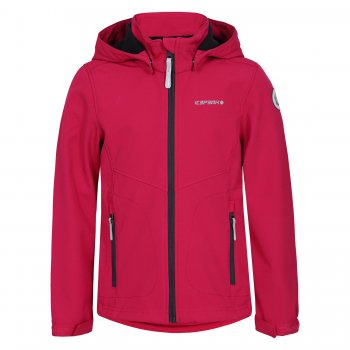 Куртка softshell TRUDY JR (розовый)Куртки<br>Куртка из материала Softshell - мягкого и приятного на ощупь: снаружи эластичный, ветро и влагозащитный слой, внутри флис. Softshell взял самое лучшее от куртки и от кофты - мягкость, тепло, защиту от воды и ветра. Одежда софтшелл всесезонна - весной и осенью ее можно носить как самостоятельную вещь при температуре от +5 до + 15 градусов. А зимой софтшелл можно использовать в качестве поддевы или для занятий спортом на открытом воздухе.<br><br> Производитель: Icepeak(Финляндия)<br> Страна производства: Китай<br> Коллекция Весна/лето 2017<br> Модель производится в размерах 116-176<br>   капюшон отстегивается с помощью кнопок, защита подбородка от защемления, регулируется по объему, карманы на молнии, манжеты на липучке, светоотражающие элементы.  <br> Верх: 100% полиэстер<br> Утеплитель: нет<br> Подкладка: 100% полиэстер (флис)<br> Водонепроницаемость: 3000 мм.<br> Паропроводимость: 3000 г/м2/24ч<br> Износостойкость: нет данных<br><br> Температурный режим <br> От +7 градусов и выше; Размеры в наличии: 128, 140, 152, 164, 176.<br>