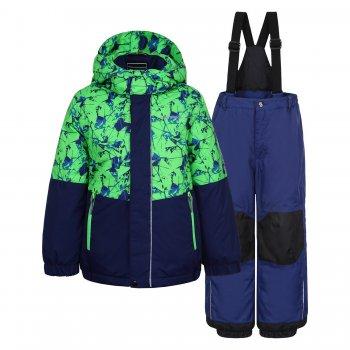 Комплект JAKE KD (синий с зеленым)Комбинезоны<br>Производитель: Icepeak (Финляндия)<br> Страна производства: Китай<br> Модель производится в размерах: 92-122.<br> Коллекция: Осень-Зима 2017.<br>   Куртка: капюшон отстегивается с помощью кнопок, защитная планка молнии на липучке, защита подбородка от защемления, карманы на молнии, манжеты на резинке, светоотражающие элементы. Брюки: регулируемые лямки, пояс на резинке, подол штанин регулируется  утяжкой без фиксатора, снежные гетры, вставки из материала повышенной прочности. <br> Верх: 100% полиэстер<br> Утеплитель: 180 грамм в теле, 160 грамм в рукавах, 120 грамм в брюках (100% полиэстер)<br> Подкладка: 100% полиэстер<br> Уровень влагонепроницаемости: 5000 мм<br> Уровень воздухопроницаемости: 2000г/м2/24ч<br><br> Температурный режим <br> от +5 до -10 градусов.<br>; Размеры в наличии: 92, 98, 104, 110, 116, 122.<br>
