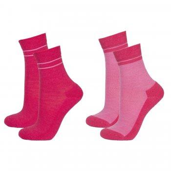 Носки с махровой стопой 2шт. (малиновый и розовый)Одежда<br>Материал<br>60% шерсть мериносов, 38% полиамид, 2% эластан<br>Описание<br>Шерсть мериносов содержит ланолин (животный воск), который обладает антибактериальными действиями и является природным антисептиком. Шерсть мериносов не вызывает аллергию, хорошо поглощает и отводит влагу от тела, эффективно согревает и оказывает положительное влияние на организм.<br>При выборе размера обратите внимание, что не рекомендуется брать термобелье с большим запасом. Носки хорошо тянутся и полностью соответствуют указанным размерам<br>Обратите внимание: нижнее белье, колготки и носки обмену и возврату не подлежат в соответствии в законом РФ О защите прав потребителей.<br>Производитель: Janus (Норвегия)<br>Страна производства: Норвегия<br>Модель производится в размерах 20-24,25-29,30-34,35-39<br>Коллекция: Осень/Зима 2016.<br>Температурный режим: <br>От +5 до -30; Размеры в наличии: 20/24, 25/29, 30/34, 35/39.<br>