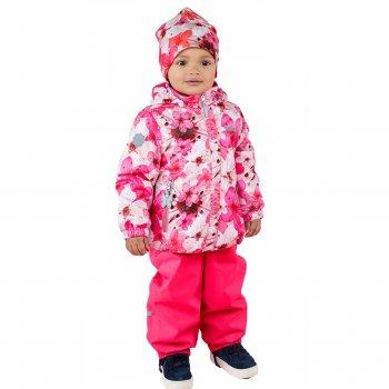 Комплект DOTTY (розовый с цветами)Комбинезоны<br>Материал<br>Верх: куртка- 100% полиэстер, брюки- 100% полиамид<br>Подкладка: 100% хлопок<br>Утеплитель: куртка - 80 грамм (100% полиэстер), брюки - 45 грамм (100% полиэстер)<br>Водонепроницаемость: 5000 мм<br>Паропроводимость: 5000 г/м2/24ч<br>Описание<br>Очень красивый и в тоже время функциональный комплект для девочек  до 3 лет на температуру от +5 до +15 градусов. В куртке 80 грамм утеплителя, в полукомбинезоне 45 грамм. Одежда керри идет в размер -+3 см. Учитывая что малыши быстро растут, чтобы комплекта хватило и на весну и на осень, выбирайте размер больше, чем рост ребенка. Водонепроницаемость 5000 мм позволяет гулять в дождливую погоду и бегать по лужам без риска промокнуть, прочные силиконовые штрипки и резинка на подоле полукомбинезона фиксирует штанины на обуви исключая попадание влаги внутрь, а высокий полукомбинезон надежно защищает спину от продувания.<br>Функциональные элементы: Куртка: капюшон отстегивается с помощью кнопок, защита подбородка от защемления, карманы без застежек, манжеты на резинке, светоотражающие элементы. Брюки: регулируемые лямки, пояс на резинке, подол штанин на резинке, съемные силиконовые штрипки, светоотражающие элементы. <br>Производитель: Kerry (Финляндия)<br>Страна производства: Евросоюз (основная часть коллекции производится в Эстонии)<br>Коллекция: Весна/Лето 2017<br>Модель производится в размерах: 74-98<br>От 0 градусов и выше; Размеры в наличии: 80, 86, 92, 98.<br>