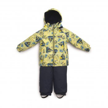 Комплект MARNI (желтый с морским принтом)Комбинезоны<br>Материал<br>Верх: куртка- 100% полиэстер, брюки- 100% полиамид<br>Подкладка: 100% хлопок<br>Утеплитель: куртка - 80 грамм (100% полиэстер), брюки - 45 грамм (100% полиэстер)<br>Водонепроницаемость: 5000 мм<br>Паропроводимость: 5000 г/м2/24ч<br>Описание<br>Комплект для малышей до 3 лет финской марки kerry на температуру от +5 до +15 градусов. В куртке 80 грамм утеплителя, в полукомбинезоне 45 грамм. Одежда  керри идет в размер -+3 см. Учитывая что малыши быстро растут, чтобы комплекта хватило и на весну и на осень, выбирайте размер больше, чем рост ребенка.  Водонепроницаемость 5000 мм позволяет гулять в дождливую погоду и бегать по лужам без риска промокнуть, прочные силиконовые штрипки и резинка на подоле полукомбинезона фиксирует штанины на обуви исключая попадание влаги внутрь. А высокий полукомбинезон надежно защищает спину от продувания.<br>Функциональные элементы: Куртка: капюшон отстегивается с помощью кнопок, защита подбородка от защемления, карманы без застежек, манжеты на резинке, светоотражающие элементы. Брюки: регулируемые лямки с помощью пуговиц, пояс на резинке, подол штанин на резинке, съемные силиконовые штрипки, светоотражающие элементы. <br>Производитель: Kerry (Финляндия)<br>Страна производства: Евросоюз (основная часть коллекции производится в Эстонии)<br>Коллекция: Весна/Лето 2017<br>Модель производится в размерах: 74-98<br>От 0 градусов и выше; Размеры в наличии: 80, 86, 92, 98.<br>