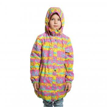 Пальто  DORA (желтый с принтом)Куртки<br>Материал<br>Верх: 100% полиэстер <br>Подкладка: 100% полиэстер <br>Утеплитель:  80 грамм (100% полиэстер)<br>Водонепроницаемость: 5000 мм<br>Паропроводимость: 5000 г/м2/24ч<br>Описание<br> Куртка на межсезонье для девочек от 2 до 9 лет от известной финской фирмы Kerry. Легкий утеплитель прекрасно подойдет на температуру от +5 до +15 градусов. Водонепроницаемость  5000 мм позволяет гулять в дождливую погоду, а удлиненная модель и ветрозащитная планка надежно защитит от продувания. Куртка приталенная, хорошо садится по фигуре. Светоотражающие элементы позволяют видеть ребенка в темное время суток. Модель идет в размер.<br>Функциональные элементы: капюшон отстегивается с помощью кнопок, защитная планка на молнии на кнопках, защита подбородка от защемления, карманы на молнии, манжеты на резинке, светоотражающие элементы. <br>Производитель: Kerry (Финляндия)<br>Страна производства: Евросоюз (основная часть коллекции производится в Эстонии)<br>Коллекция: Весна/Лето 2017<br>Модель производится в размерах: 92-134<br>От 0 градусов и выше; Размеры в наличии: 104, 110, 116, 122, 128, 134.<br>