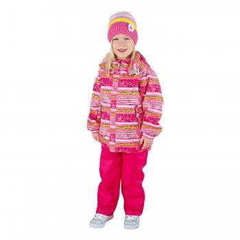 Комплект  HOPS (розовый в полоску)Комбинезоны<br>Материал<br>Верх: куртка- 100% полиэстер, брюки- 100% полиамид<br>Подкладка: 100% полиэстер<br>Утеплитель: куртка - 80 грамм (100% полиэстер), брюки - 45 грамм (100% полиэстер)<br>Водонепроницаемость: 5000 мм<br>Паропроводимость: 5000 г/м2/24ч<br>Описание<br>Демисезонный комплект для детей от 2 до 9 лет на температуру от 0 до +15 градусов. Модель Kerry HOPS - отличный вариант для весенних прогулок. Дышащая, влагостойкая ткань Kerry Active защитит от ветра и слякоти, а высокий полукомбинезон надежно защитит спину от продувания даже при самых активных играх. Одежда Kerry не требует сложного ухода. Небольшие загрязнения легко удаляются влажной губкой. <br>Функциональные элементы: Куртка: капюшон отстегивается с помощью кнопок, защитная планка молнии без застежек, защита подбородка от защемления, карманы на молнии, манжеты на резинке,  утяжка по подолу, светоотражающие элементы. Брюки: регулируемые лямки, пояс на резинке. <br>Производитель: Kerry (Финляндия)<br>Страна производства: Евросоюз (основная часть коллекции производится в Эстонии)<br>Коллекция: Весна/Лето 2017<br>Модель производится в размерах: 92-134<br>От 0 градусов и выше; Размеры в наличии: 98, 104, 110, 116, 122, 128, 134.<br>