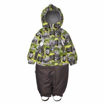 Комбинезон WAVE (серо-зеленый с принтом)Комбинезоны<br>Описание<br>Комбинезон для малышей от 6 месяцев до 2 лет подойдет на межсезонье (+5+15 градусов). Модель разработана специально для малышей: свободный крой не сковывающей движений, длинная молния для удобства одевания, яркие принты. Манжеты и подол штанин на резинке, что препятствует задуванию и попаданию влаги. Водонепроницаемость 5000 мм позволяет гулять в дождливую погоду и бегать по лужам без риска промокнуть. Нижняя часть комбинезона из материала повышенной прочности, отлично  выдержит активную эксплуатацию и проверку на прочность горками. Светоотражающие элементы позволяют видеть ребенка в темное время суток. Модель идет в размер.<br>Функциональные элементы: капюшон отстегивается с помощью кнопок, защитная планка молнии на липучке, защита подбородка от защемления, карманы на молнии, манжеты на резинке, съемные силиконовые штрипки, светоотражающие элементы, удлиненная молния. <br>Характеристики<br>Верх: 100% полиамид<br>Подкладка: 55% вискоза, 45% полиэстер<br>Утеплитель: 80 грамм (100% полиэстер)<br>Водонепроницаемость: 5000 мм<br>Паропроводимость: 5000 г/м2/24ч<br>Производитель: Kerry (Финляндия)<br>Страна производства: Евросоюз (основная часть коллекции производится в Эстонии)<br>Модель производится в размерах: 62-80 <br>Коллекция: Весна/Лето 2018<br>Температурный режим<br>От 0 градусов и выше; Размеры в наличии: 74, 80, 86, 92.<br>