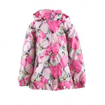 Куртка POLKA (розовый с бабочками)Куртки<br>Описание<br>Очень нежная куртка с бабочками. Девочки будут в восторге!<br>В куртке 80 г утеплителя, что позволяет выходить на улицу уже от 0 градусов, надевая теплую поддеву, например, флисовую. Стильный девчачий крой сочетается с функциональностью: манжеты на резинке и планка, закрывающая молнию, защитят от внезапного ветра, а светоотражающие элементы сделают ребенка заметным в темноте. Высокая водонепроницаемость позволяет гулять в сырую погоду без риска промокнуть.<br>Функциональные элементы: капюшон отстегивается с помощью кнопок, защитная планка молнии без застежек, защита подбородка от защемления, лис по спинке, карманы на молнии, манжеты на резинке, светоотражающие элементы. <br>Характеристики: <br>Верх: ткань Active (100% полиамид)<br>Подкладка: флис (100 % полиэстер)<br>Утеплитель:  80 грамм (100% полиэстер)<br>Водонепроницаемость: 5000 мм<br>Паропроводимость: 5000 г/м2/24ч<br>Производитель: Kerry (Финляндия)<br>Страна производства: Евросоюз (основная часть коллекции производится в Эстонии)<br>Модель производится в размерах: от 92-128<br>Коллекция: Весна/Лето 2018<br>Температурный режим: <br>От 0 градусов и выше; Размеры в наличии: 92, 98, 104, 110, 116, 122, 128, 134.<br>