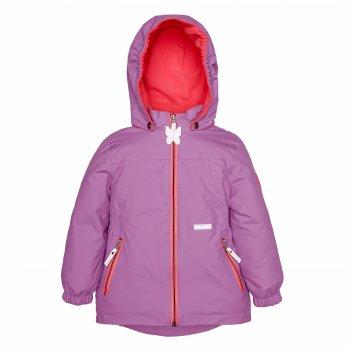 Куртка FLEUR (фиолетовый)Куртки<br>Описание<br>Яркая весенняя куртка для девочки с контрастным сочетанием цветов. Куртка утеплена и подойдет на температуру от 0 градусов до примерно + 15. А благодаря водонепроницаемым свойствам ткани ее можно смело надевать во влажную погоду.<br>На куртке много светоотражающих элементов, один из которых - милая бабочка на язычке основной молнии. <br>Куртка девчачьего кроя, слегка удлиненная и с широкой резинкой на талии, Для безопасности в куртке предусмотрен капюшон на кнопках, который легко отстегнется в случае опасной ситуации.<br>Функциональные элементы:  капюшон отстегивается с помощью кнопок, защита подбородка от защемления, карманы на молнии, манжеты на резинке, светоотражающие элементы. <br>Характеристики: <br>Верх: ткань Active (100% полиамид)<br>Подкладка: 100 % полиэстер<br>Утеплитель:  80 грамм (100% полиэстер)<br>Водонепроницаемость: 5000 мм<br>Паропроводимость: 5000 г/м2/24ч<br>Производитель: Kerry (Финляндия)<br>Страна производства: Евросоюз (основная часть коллекции производится в Эстонии)<br>Модель производится в размерах: от 92-128<br>Коллекция: Весна/Лето 2018<br>Температурный режим: <br>От 0 градусов и выше; Размеры в наличии: 98, 104, 110, 116, 122, 128, 134.<br>