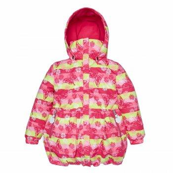 Куртка DORA (розовый с цветами)Куртки<br>Описание<br>Яркое весеннее пальто для девочек в возрасте от 4 до 8 лет. <br>В модели 80 г утеплителя, а это означает, что в ней можно спокойно выходить на улицу и наслаждаться весной уже от 0 градусов (не забывая про теплую поддеву). <br>Куртки Kerry отличаются сочетанием продуманного до мелочей кроя и дизайна, с функциональностью и практичностью: водонепроницаемость 5000 мм позволяет смело гулять под легким дождиком, специальная грязеотталкивающая пропитка делает одежду максимально удобной в уходе. Кроме этого, в куртке есть элементы для безопасности - светоотражатели и капюшон на кнопках.<br>Функциональные элементы: капюшон отстегивается с помощью кнопок, защитная планка молнии без застежек, карманы на молнии, манжеты на резинке, светоотражающие элементы. <br>Характеристики: <br>Верх: ткань Active (100% полиамид)<br>Подкладка: флис (100 % полиэстер)<br>Утеплитель:  80 грамм (100% полиэстер)<br>Водонепроницаемость: 5000 мм<br>Паропроводимость: 5000 г/м2/24ч<br>Производитель: Kerry (Финляндия)<br>Страна производства: Евросоюз (основная часть коллекции производится в Эстонии)<br>Модель производится в размерах: от 92-128<br>Коллекция: Весна/Лето 2018<br>Температурный режим: <br>От 0 градусов и выше; Размеры в наличии: 98, 104, 110, 116, 122, 128, 134.<br>