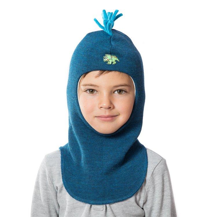 Шлем (сине-зеленый с ирокезом и динозавром)