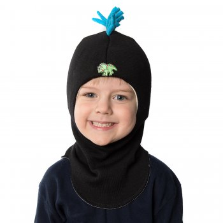Шлем (черный с динозавром)Одежда<br>Материал<br>Верх: 100% шерсть<br>Подкладка: 100% хлопок<br>Описание<br>Шлемы Киват очень теплые и подойдут на самые лютые морозы. Специальные вставки с утеплителем в области ушек и лба. Отличная посадка по голове и оригинальный дизайн. Светоотражающие вставки для безопасности. <br>Производитель: Kivat, Финляндия<br>Коллекция Осень/Зима 2014<br>Модель производится в размерах 1-4<br>Страна производства: Финляндия<br>Температурный режим<br>От 0 до -20 градусов<br>; Размеры в наличии: 1, 2, 3, 4.<br>