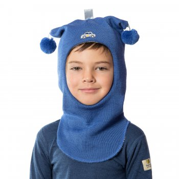 Шлем (ярко-синий с помпонами и машинкой)Одежда<br>; Размеры в наличии: 0, 1, 2, 3.<br>