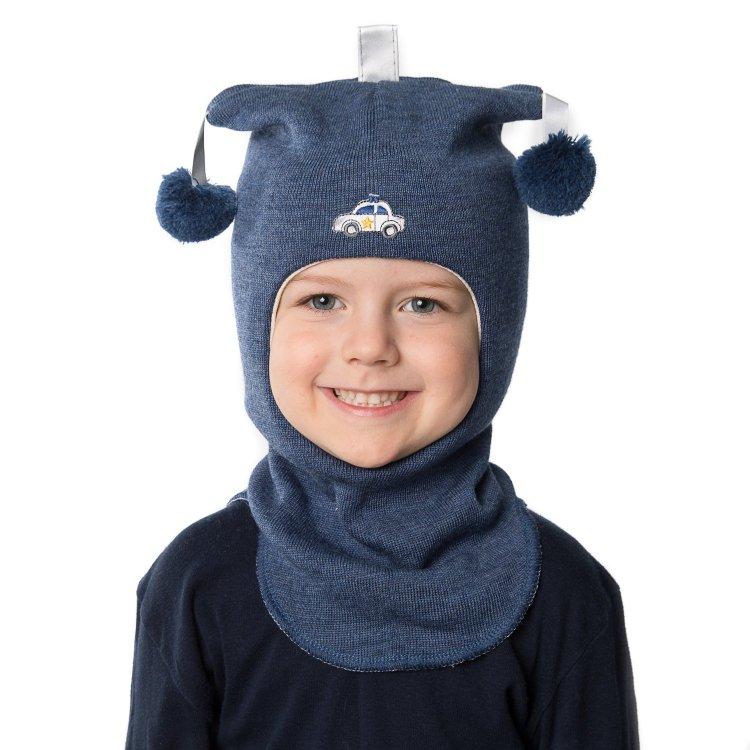 Kivat Шлем (синий с помпонами и машинкой)