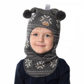 Шлем (серый со снежинками и помпонами)Одежда<br>; Размеры в наличии: 0, 1, 2, 3.<br>