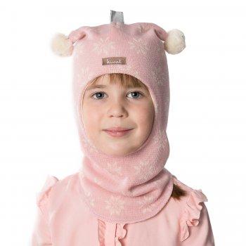 Купить со скидкой Шлем (бледно-розовый со снежинками и помпонами)
