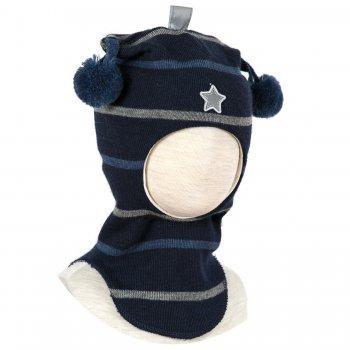 Купить со скидкой Шлем (синий в полоску с помпонами и звездой)