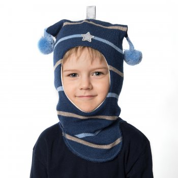 Kivat Шлем (синий в полоску с помпонами и звездой) kivat шлем малиновый с помпонами и короной