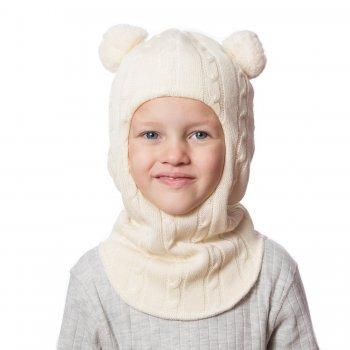 Купить со скидкой Шлем (молочный с помпонами, вязка косички)